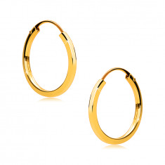 Rounded earrings in 375 gold - thin square shoulders, shiny surface, 14 mm