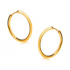 Golden round earrings in 9K gold - thin rounded shoulders, shiny surface, 16 mm