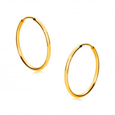 Round golden earrings in 9K gold – thin rounded shoulders, glossy surface, 17 mm