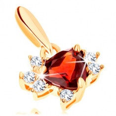 Pendant in yellow 9K gold - triangle garnet with clear zircons