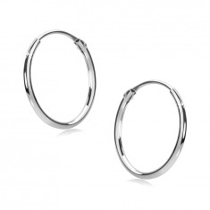 Earrings made of white 585 gold - fine hoops, shiny rounded surface, 12 mm
