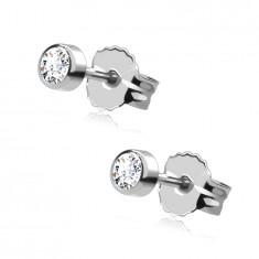 Stud earrings in white 585 gold - round shiny zircon in mount, 3 mm