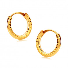 Children's earrings in yellow 585 gold - small hoops, shiny ridged shoulders, 10mm