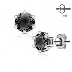 Earrings made of stainless steel in silver color, round black zircon in mount