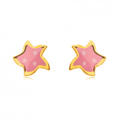 Earrings in yellow 585 gold - star with five points, pink glaze and three dots