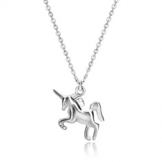 925 silver necklace - galloping unicorn, chain made of oval links
