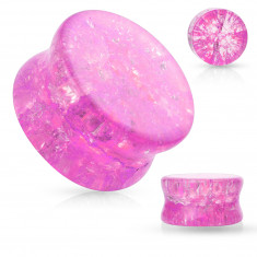 Glass saddle ear plug with rounded edges, transparent, pink color, broken effect