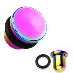 Ear plug made of 316L steel and titanium in rainbow color, black rubber band, various thicknesses