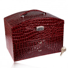 Suitcase jewelry box in burgundy color, crocodile pattern, metal details in silver hue, key