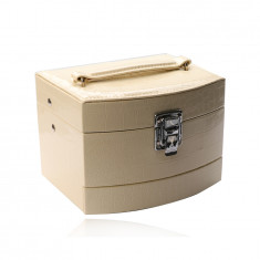 Jewelry box in creamy color made of eco leather, three-level box, crocodile pattern, buckle