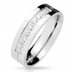 Steel ring in silver color, nine clear zircons in the notch, shiny surface, 6 mm