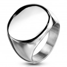 Stainless steel ring, flat shiny circle, silver color