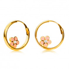 14K Gold round earrings, pink flower, shiny surface, 12 mm