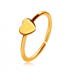 14K Gold nose piercing, shiny ring with a small heart, 8 mm