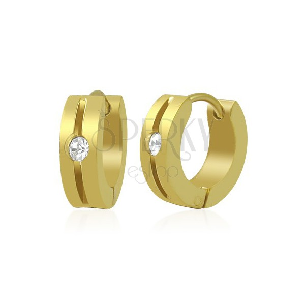 Earrings made of 316L steel - ring in gold colour with notch and clear zircon