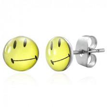 Stainless steel earrings - smug smiley