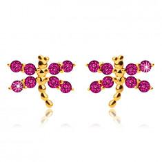 Stud earrings made of 9K yellow gold, dragonflies, dark pink zircons