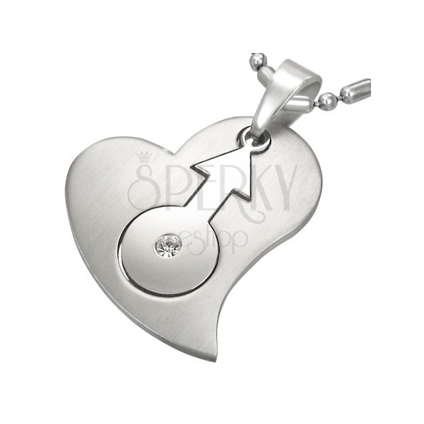 Stainless steel pendant with heart and female gender sign