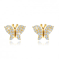 Earrings made of yellow 9K gold, butterfly, wings decorated with clear zircons, studs