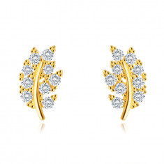 9K stud earrings – leaf paved with glittery round clear zircons