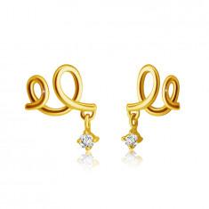 Stud earrings made of yellow 9K gold - double loop, clear zircon