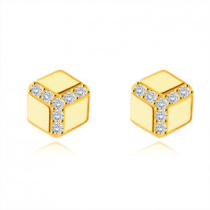 375 Golden earrings – hexagon with a smooth surface, round clear zircons, studs
