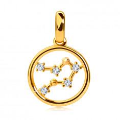 "Round 14K gold pendant, zodiac constellation ""Gemini"", clear zircons"