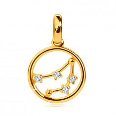 """585 gold pendant, circle, zodiac constellation """"Capricorn"""", clear zircons, smooth surface"""