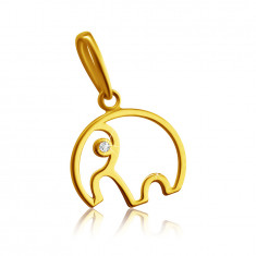9K yellow gold pendant - elephant contour with trunk, clear zircon