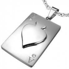 Pendant made of steel ACE of spades