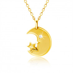 Necklace in yellow 9K gold - moon with clear zircon eye, star
