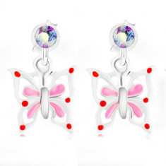 925 silver earrings, butterfly with white-pink wings, rainbow crystal