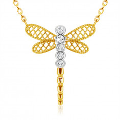 Pendant made of combined 9K gold - dragonfly with lattice wings, clear zircons