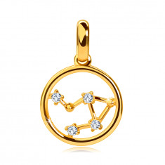 Pendant made of 14K yellow gold, zodiac constellation 'Libra', circle, clear zircons