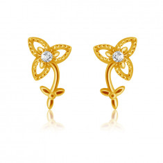 Stud 9K yellow gold earrings - three-petalled flower with stem and leaves, clear zircon