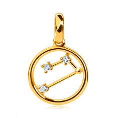 Pendant made of yellow 14K gold, zodiac constellation 'Aries', circle, clear zircons