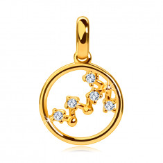 Pendant made of 14K yellow gold, constellation of the zodiac 'Scorpio', circle, clear zircons