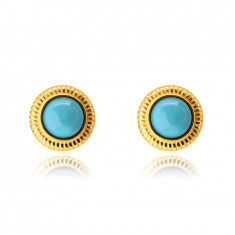 9K Golden earrings – circle with bordering, blue synthetic turquoise, studs