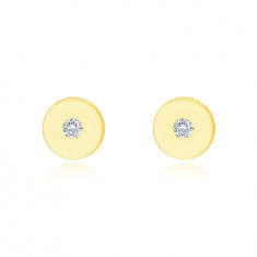 Earrings made of 9K yellow gold – flat circle with a clear zircon, shiny and smooth surface
