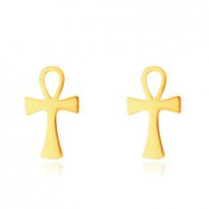 9K Golden earrings – Anch, Nile cross pattern, studs