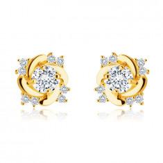 Stud 9K earrings – glittery round clear zircon, twisted shoulders