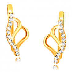 Earrings made of 375 yellow gold – butterfly wings contour, strip adorned with round zircons