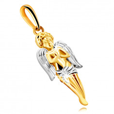 Pendant made of combined 9K gold – a praying angel with wings