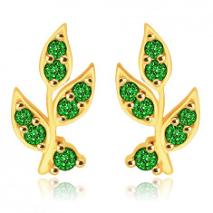 9K yellow gold earrings - stem with petals, shiny zircons of green color