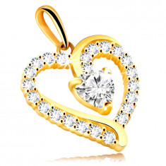 375 Yellow gold pendant – heart-shaped outline, glittery clear zircons