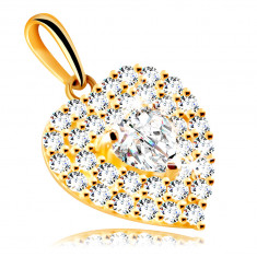 Pendant made of 9K gold – heart adorned with glittery zircons, embedded with a zircon heart