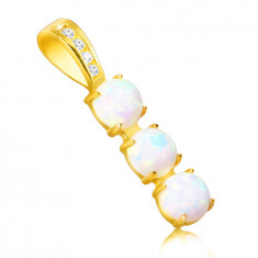 Pendant made of 9K gold – narrow strip, mounts with synthetic opals, clasp with zircons