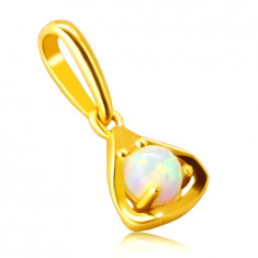 Pendant made of 9K gold – triangle contour with a round synthetic opal