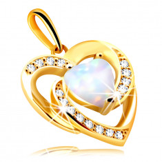 Pendant made of 9K gold – heart made of white synthetic opal with rainbow reflections, round zircons