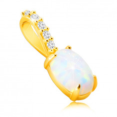 Pendant made of 9K gold – oval synthetic opal with rainbow reflections, tiny glittery zircons